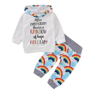 2pcs Kids Pullover Rainbow Baby Clothes Suit Rainbow Print Long Sleeve Hooded Sweatshirt Trousers Pants Set Cute Girl Boy Outfit