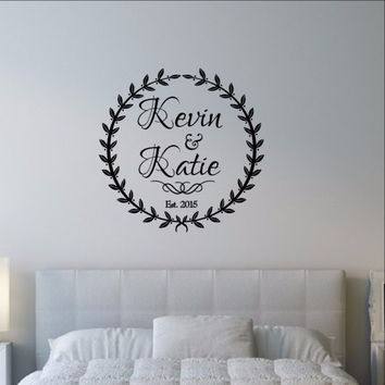 Custom Laurel Wreath with Names and Established Date Wedding Decal 22528