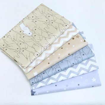Printed Polar Bear Wave CottonTwill Fabric by half meter DIY Sewing bedding Tissue Needlework Material Curtain Cloth