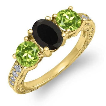 1.92 Ct Oval Black Onyx Green Peridot 18K Yellow Gold Plated Silver Ring
