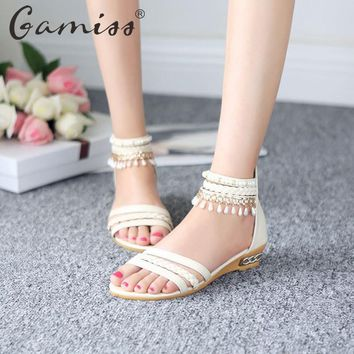 Gamiss Lady Bohemian Sandals Gladiator Weave Hollow Beading Wedges Shoes Low Heel Casual Summer Shoes Woman Sandals Flip Flops