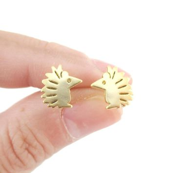 Tiny Hedgehog Shaped Animal Themed Stud Earrings in Gold | Allergy Free