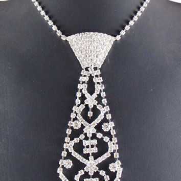 Silver Rhinestone Neck Tie Necklace