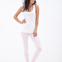 FOREVER 21 Wear Pink PJ Set White/Pink