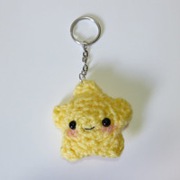 Crochet Star Charm Made-to-Order w/ keychain or dust plug or strap for iPhone, Samsung, Nintendo or iPod, Kawaii
