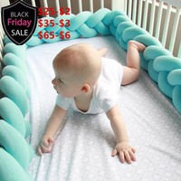 Ins Nordic Plush Stuffer Long Knotted Braid Pillow Baby Crib Bumper Cushion Set Plush Knot Pillow Baby'S Room Decoration Nordic