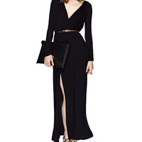 Black V-Neck Long Sleeve Maxi Dress with Slit