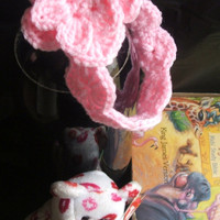 Holiday Special Baby Girl Light Pink Crocheted Flower Head Band Ready to Ship