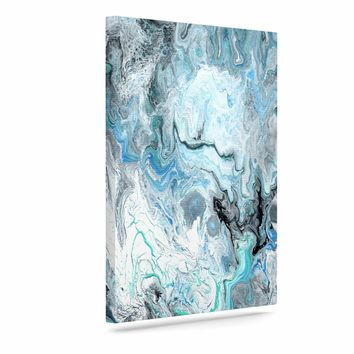"""Catherine Holcombe """"Wave Crash Marble"""" Blue Teal Abstract Coastal Painting Art Canvas"""