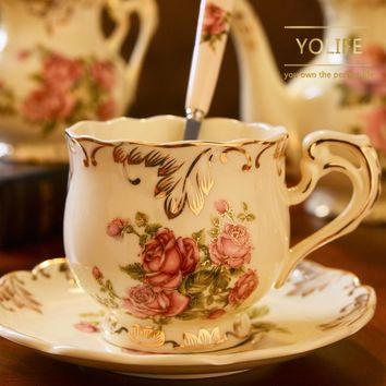 Yolife Pocelain Tea Cup Saucer Set Coffee Cup Ceramic Mug Beauty Drinkware Gift 250ml Top mouth