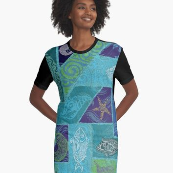 """Hawaii Tribal Fish Tapa Print"" A-Line Dress by sunnthreads 