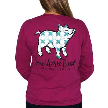 Mosaic Proud Pig Long Sleeve Tee {Boysenberry}