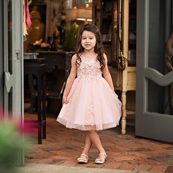 Camellia Pink Floral Knee Tea Length Dress - Toddler & Girls