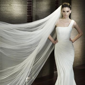 One Layer Long Veil Wedding Accessories with Comb
