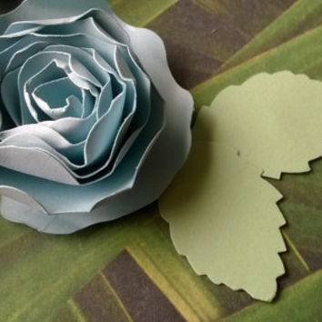 light blue dahlia boutonniere baby boy shower wedding anniversary groomsman pin back groom rolled paper flower lapel brooch bridal party