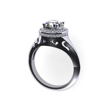 Edwardian Diamond Ring 14K White Gold with 7mm Round White Sapphire Ctr - V1031