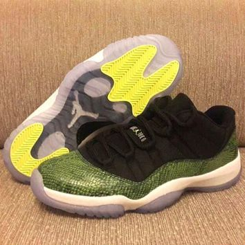 Air Jordan 11 Retro Black/Green Snake Basketball Shoe 41-47