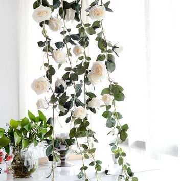 Artificial Flower Garland Plants Green Leaves Simulation Cane Rose Garland Home Outdoor Decor Flowers Wedding Christmas Decoration MGT-065