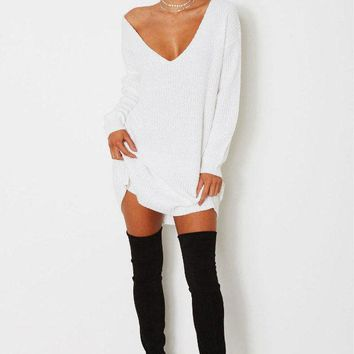 Pure Color Deep V-neck Long Sleeves Long Loose Sweater