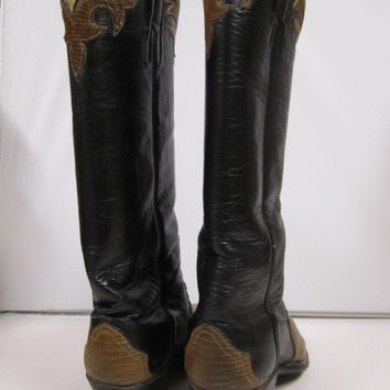 Women's Brown Black Lizard and Leather Boots, Size 6