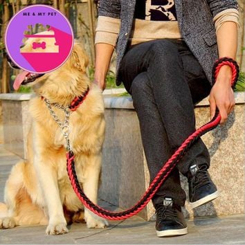 Fashionable Design Colorful Collar Stereotyped Rope Large Dog Leashes Pet Traction Training Collars Set For Big Medium Pets Dogs