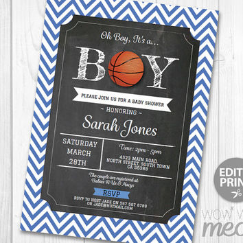 It's a Boy Blue Baby Shower Invitation Basketball INSTANT DOWNLOAD Couples Sports Personalize Party Invites Editable & Printable @Home