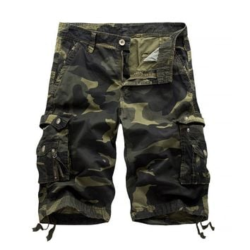 Summer 2017 Men Shorts Men's Casual Camouflage Cargo Shorts Male Army Work Shorts Homme Cotton multi-pocket Shorts Plus Size 38