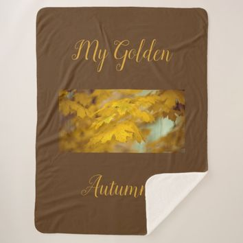 Yellow autumn maple leaves. Add you text or name. Sherpa Blanket