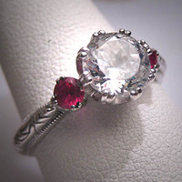 Vintage Tacori Wedding Ring Antique Style Ruby Art Deco