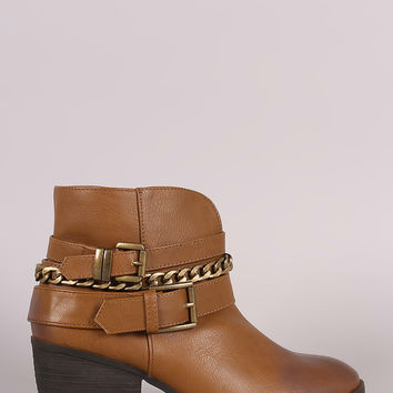 Buckled Strappy Chain Cowgirl Block Heeled Booties