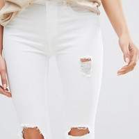 River Island Distressed White Amelie Jean at asos.com