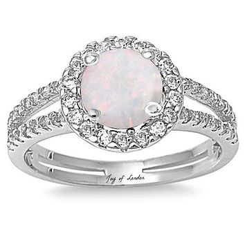 2CT Round Cut Halo White Opal Split Shank Engagement Ring