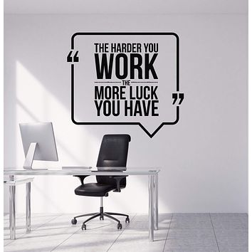 Vinyl Wall Decal Motivational Quote Hard Work Office Decorating Art Stickers Mural Unique Gift (ig4992)