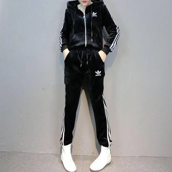 """Adidas"" Women Casual Fashion Stripe Velvet Long Sleeve Zip Cardigan Hoodie Trousers Set Two-Piece Sportswear"