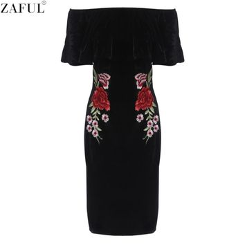 ZAFUL Woman Bodycon Dress Sexy Slash Neck Off Shoulder Black Velvet Floral Embroidery Slim Party Stretch Bandage High Waist Dres