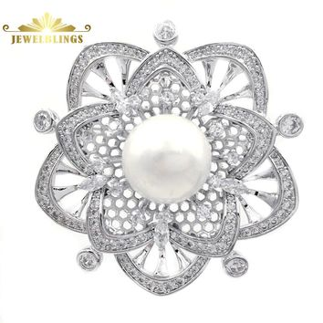 Luxury Vintage Pave CZ Filigree Flower Brooches Silver Tone Two Layered 5-Petal Opens Mother of Pearl Flower Pins for Wedding