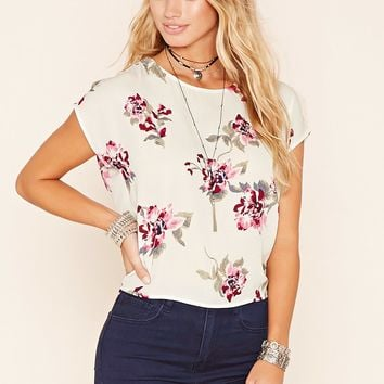Floral Tulip-Back Blouse