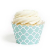 Dress My Cupcake Diamond Blue Spanish Tile Cupcake Wrappers, Set of 12