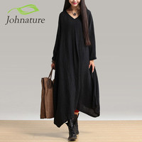 Johnature 2016 Autumn New Women Black Color Maxi Dress Robe Long Sleeve V Neck Loose Plus Size Irregular Long Dress Gown