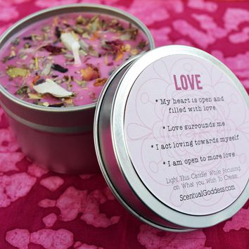 LOVE Intention Candle - Increase Self-Love, Mend Relationships or Attract Your Soulmate