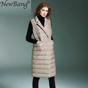 NewBang Brand Women's Long Vest Ultra Light Down Vests Sleeveless Turn-down Collar Jacket Single Breasted Warm Suit vest Women