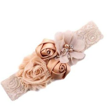 DCCKFS2 2017 newborn headband rose hair band Chiffon flower lace elastic Rhinestone headbands children girls hair accessories 18colors