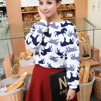 Horse Print Cuff Sleeve Cropped Sweater