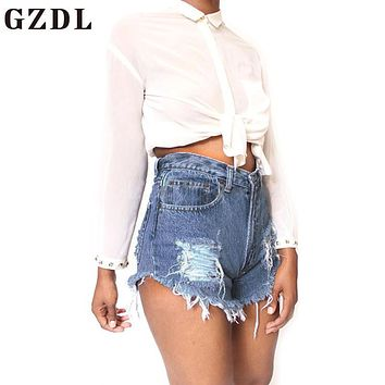 GZDL Summer Vintage Women Skinny Fitness Denim Jeans Shorts High Waisted Women's Button Fly Ripped Pocket Pants Plus Size CL3543