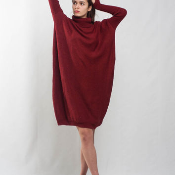 Oversize knit dress midi terracotta dress turtle neck dress plus size dress crochet loose dress winter long sleeves knit rust dress
