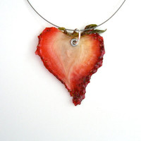 Strawberry Necklace - Real Fruit Jewelry - Fruit Jewelry - Made from Real Fruit - Vegan Necklace