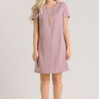 Erin Mauve Short Sleeve Shift Dress - Morning Lavender