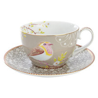 Khaki Bird Print Cup and Saucer, PiP Studio