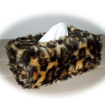 Leopard print Fluffy faux fur Rectangular Tissue Box Cover