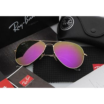 Ray Ban Aviator Sunglass Bronze Purple/Blue Mirrored RB 3025 167/1M